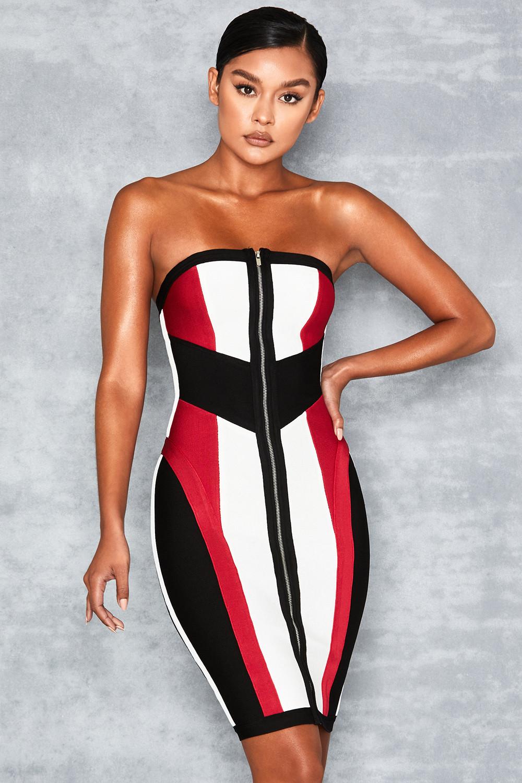 4ac2c3feca63 'Lexis' White Black + Red Bandage Colour Block Dress - Mistress Rocks