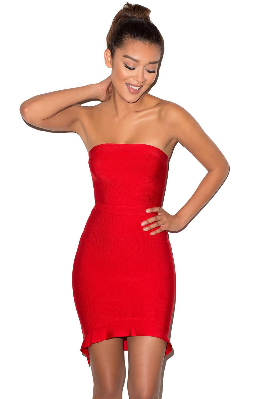 709a2ed7997d 'Elfin' Red Strapless Fluted Hem Bandage Dress - Mistress Rocks