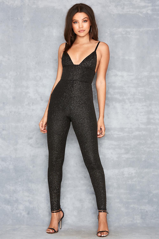 9256dda72bf  Birthday Suit  Black   Gold Lurex Jumpsuit - Mistress Rocks