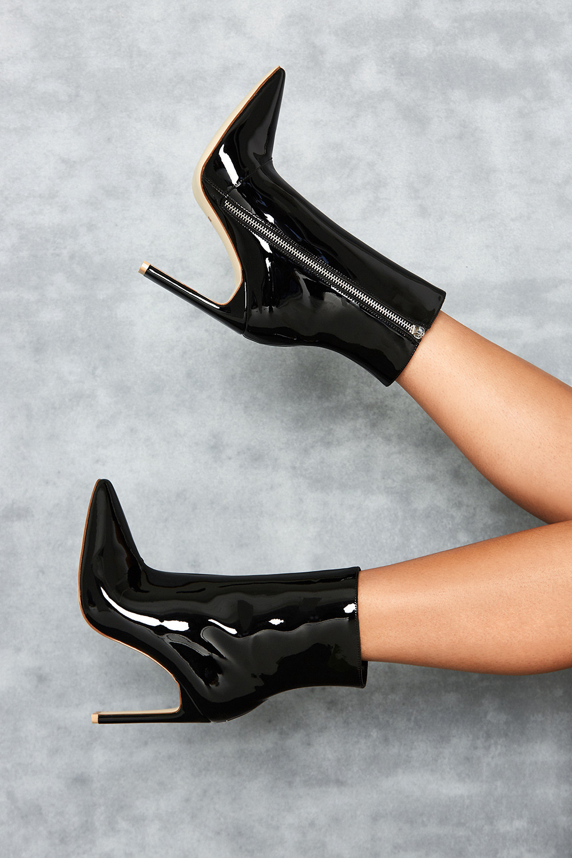 Malachi' Black Vinyl Ankle Boot